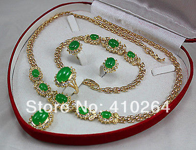Devoted $wholesale_jewelry_wig$ Free Shipping Noblest Green Malay Necklace Pendant Bracelet Earring Ring(#7,8,9 100% Original