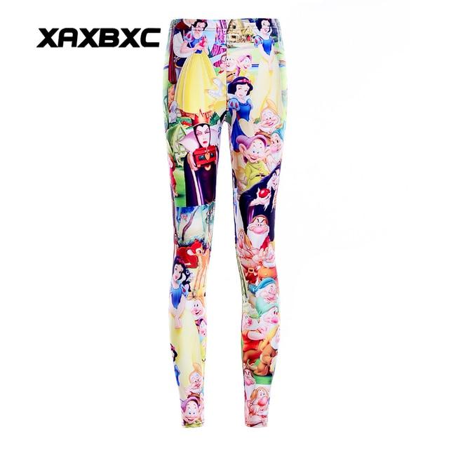 cbb63ab8da021 3303 Girl Cartoon Snow white Witch princess Printed Elastic Slim GYM  Fitness Women Sport Leggings Yoga Pants Trousers Plus Size