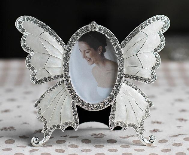 Free Shipping Metal Photo Frame Wedding Gift Home Decoration Butterfly Design White color 3 inch Baby Frame