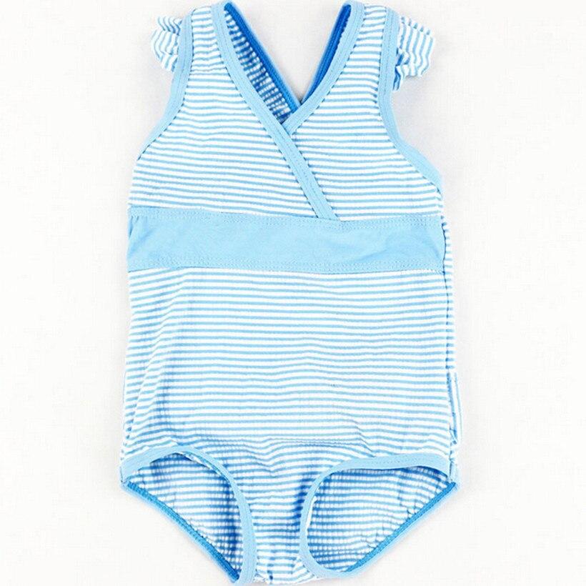 Funfeliz baby Girl Swimsuit Cute Striped Girls Swimming suit Nylon Kids one piece swimsuit blue swim costume for girls 6M 24M in Swimwear from Mother Kids