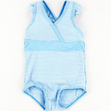 Funfeliz baby Girl Swimsuit Cute Striped Girls Swimming suit Nylon Kids one piece swimsuit blue swim costume for girls 6M-24M