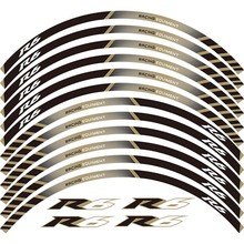 12 X Thick Edge Outer Rim Sticker Stripe Wheel Decals FIT YAMAHA YZF R6 YZF1000 YZF-R6 for yamaha yzf r6 2008 2009 2010 11 12 13 14 complete all silver abs fairings 3mm thick injection plastic kits