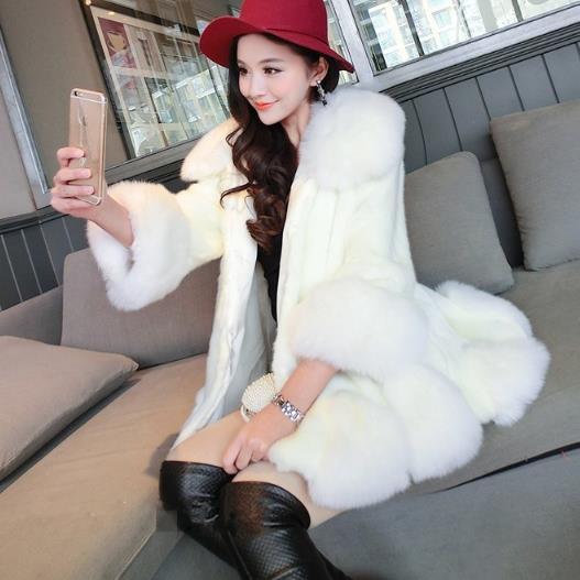 Chaqueta Largo De Manteau Femme Hiver Faux blanco Mujeres J381 Fox Invierno rosado Abrigo Falso Abrigos Plata Pieles negro Retro Piel Lujo Furry 2018 w6S86q