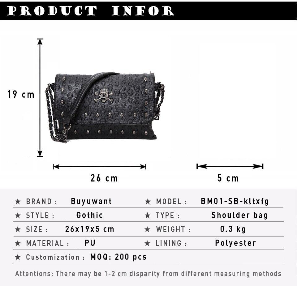 Buyuwant 2018 Summer new women's bag skull envelope shoulder bag rivet retro handbag gothic lady purse BM01-SB-kltxfg 2