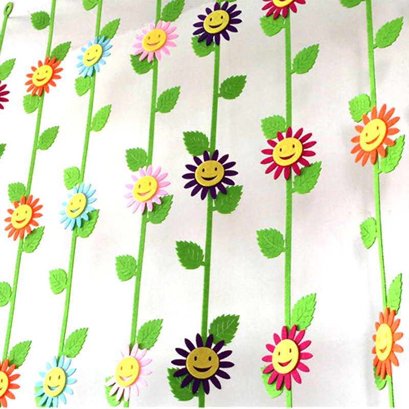 5Pc/Lot Smile Decoration Felt Cutting Sun Flower Wicker Non-Woven Cloth Felts Kindergarten Children Room Diy Decoration Stickers