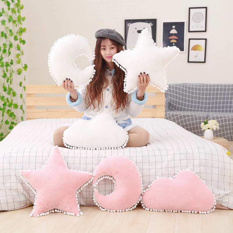 Lovely Moon Star Clouds Plush Pillows Sky Series Stuffed Plush Toys Soft Cushion Sofa Pillow Home Bed Decoration Gifts For Girl fancytrader new style giant plush stuffed kids toys lovely rubber duck 39 100cm yellow rubber duck free shipping ft90122