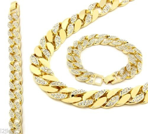 Jewelry Set Trendy Gold Cuban Link Chain CZ Iced Out Bling Hip Hop Miami Chain&Bracelet Mens Bling Bling Cuban Chain