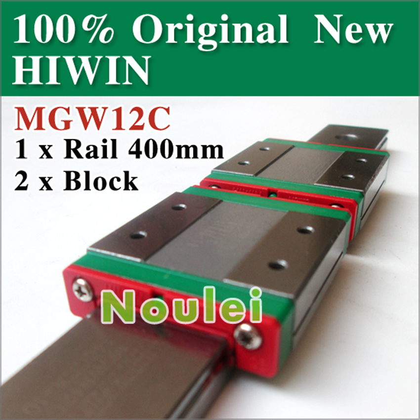 HIWIN 2pcs MGW12C linear slide block with MGWR12 guide rail 400mm from taiwan cnc parts MGW 12 series 24 mm free shipping to argentina 2 pcs hgr25 3000mm and hgw25c 4pcs hiwin from taiwan linear guide rail