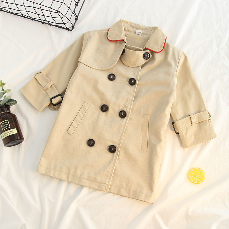 Children's clothing girls British wind jacket long double-breasted cotton wild neckline with red edge casual windbreaker jacket цена