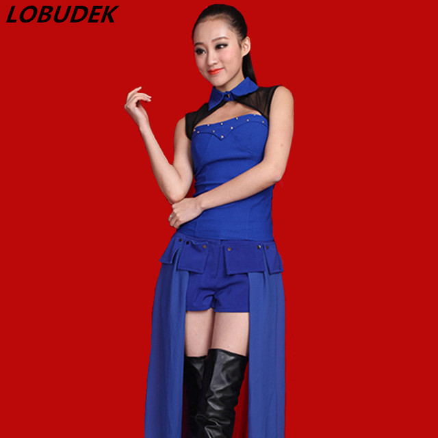 c61dc86917 Female Jazz dance Costumes Nightclub DJ singer DS performance clothes Blue rivet  sexy sets Bar leading