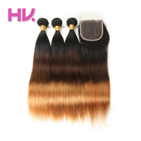 Hair Villa Ombre Indian Straight Hair With Closure #1b/4/30 4*4 Salon Remy Ombre Human Hair 2/3 Bundles with Lace Closure