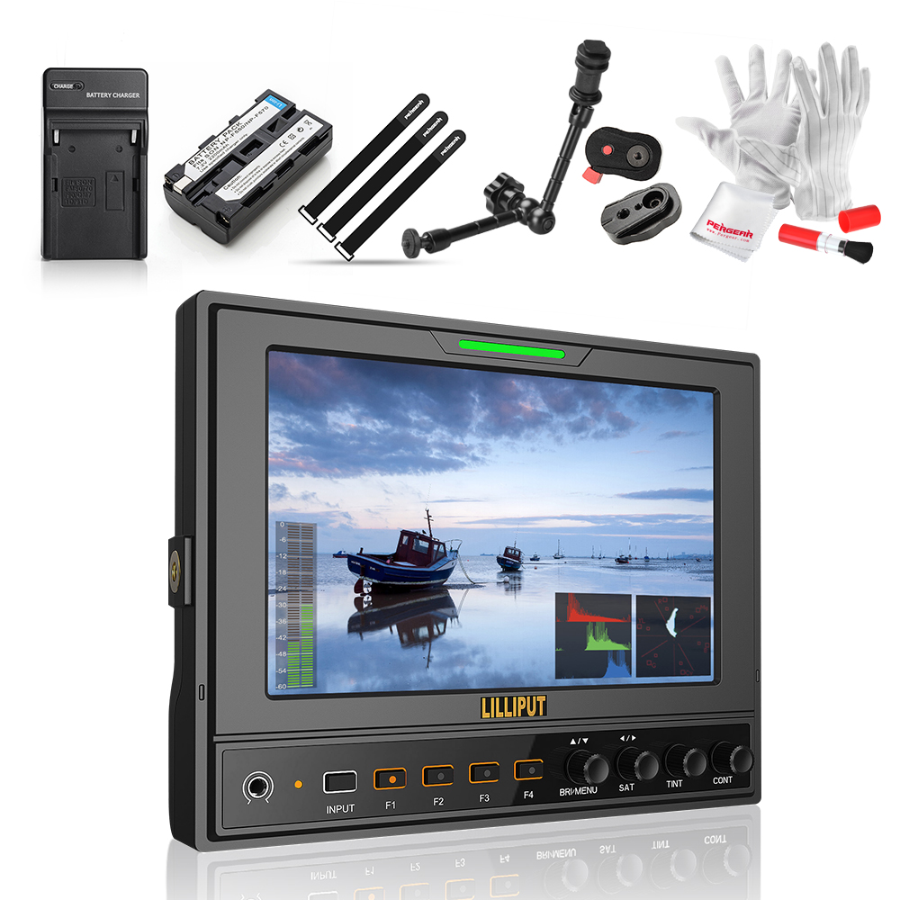 Lilliput 662/S 7 IPS 1280*800 HD Camera Field Monitor HD-SDI Input/Output+Magic Arm+Battery & Charger+Sunshade Cover+Shoe Mount aputure vs 5 7 inch sdi hdmi camera field monitor with rgb waveform vectorscope histogram zebra false color to better monitor