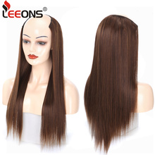 Leeons U Part Wig Synthetic Hair Clip In Hair Extensions Fake Mega Hair 7 Clip In Extension Ombre Heat Resistant Hairpieces 230G wholesale 1000pcs lot 32mm u shape snap metal clips with silicone back for clip in hair extensions weft wig