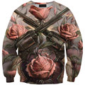Autumn Winter Sweatshirt Women Hoodies Pullovers Tops Hoody Jacket  Vintage Guns Rose 3D Print Sweatshirt Moleton Sudaderas