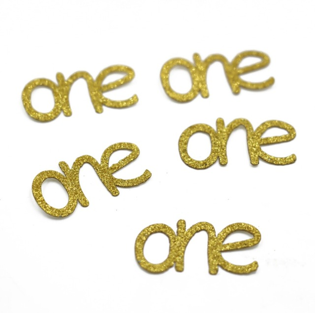 100Pcs 1st Birthday Gold One Confetti Paper Die Cuts Scrapbooking Gift Wrapping Cards