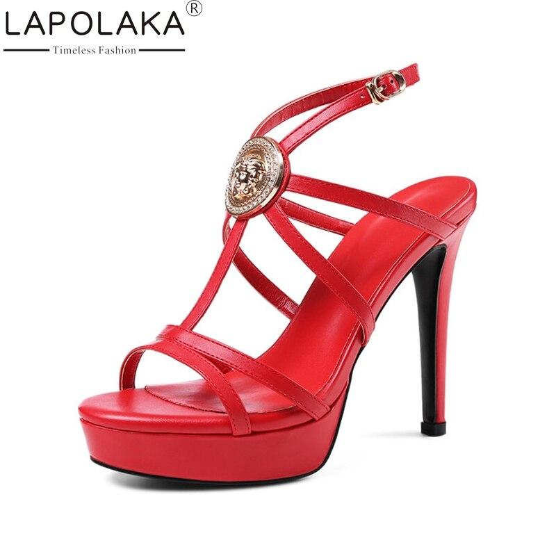 LAPOLAKA ženske pravega usnja spike visoke pete gleženj trak trde - Ženski čevlji