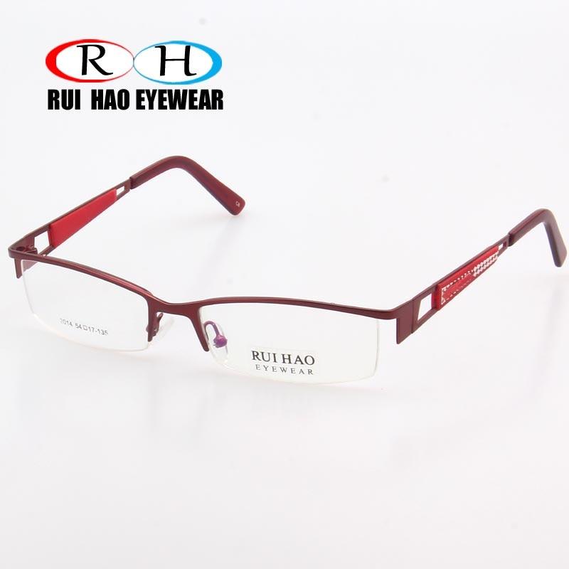 ac9ff19b66 Fashion Eyeglasses Frames Women Red Half Rimless Optical Glasses Frame  Prescription Spectacles 2014