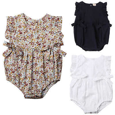 Newborn Baby Girls   Rompers   Bowknot Clothes One Pieces Hollow Out Jumpsuit Outfits