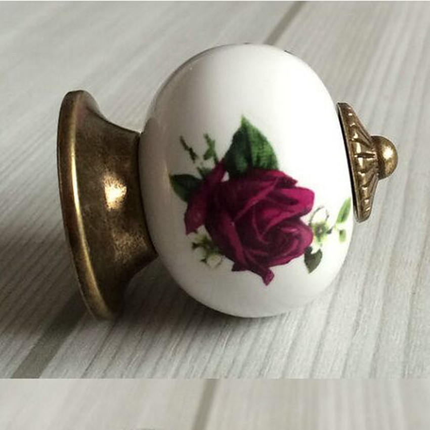 red Rose Dresser Knob Drawer Kitchen Cabinet Knobs Rustic Antique Bronze Door Handle Pull Ceramic Knobs Hardware antique distress drawer knob bronze kitchen cabinet handle knob antique brass dresser cupboard furniture door knobs handles 30mm
