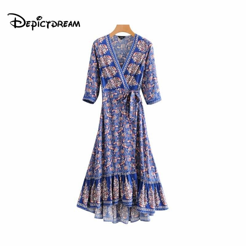 2019 cross V neck paisley print wrap maxi dress bow tie three quarter sleeve casual chic ankle length dresses vestidos