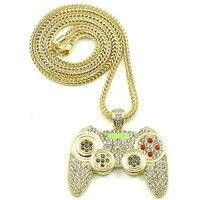 Unisex Hip Hop Naszyjnik Gamepad Komputerowe TV Gry Wisiorek CZ Mrożona z Bling Bling Kryształ Biżuteria Naszyjnik
