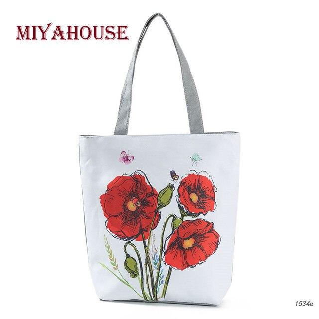 497562d3972 Miyahouse Red Poppy Printed Summer Beach Handbags Women Casual Canvas Large  Capacity Shopping Bags Female Fresh