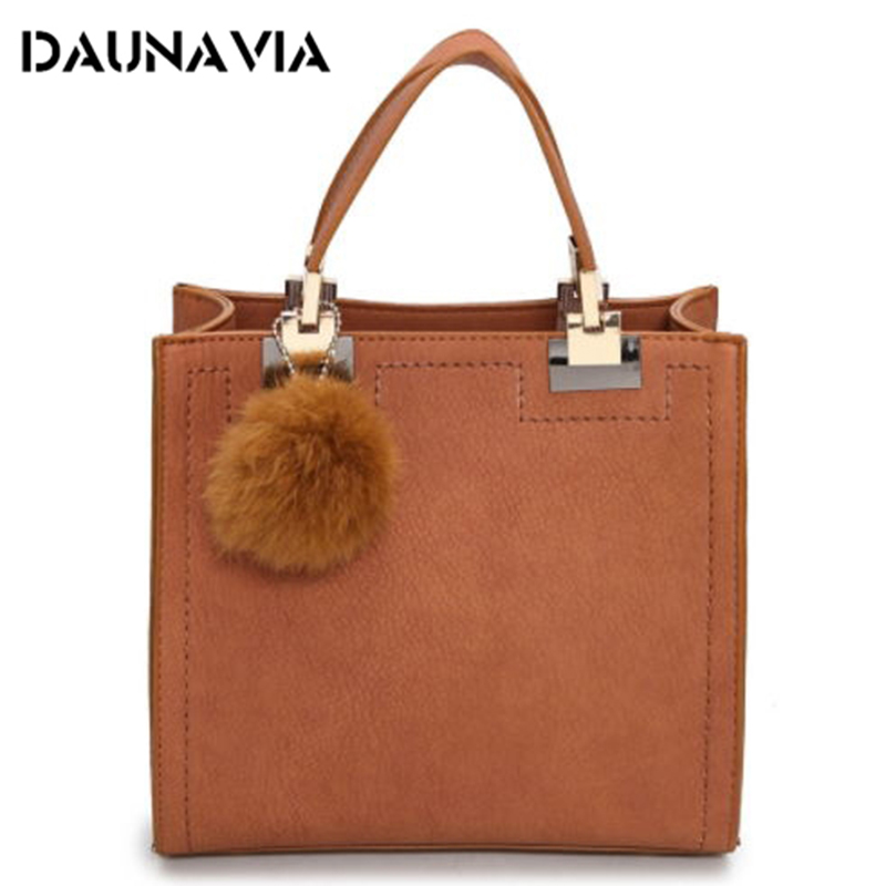 2017 New Brand Top-Handle Bags Women Leather Handbags Large Solid Shopping Tote With Tassel Fur Ball Shoulder Bag Messenger Bags micocah brand new arrival women messenger pu leather bag design with tassel solid color brand bag withe zipper bags gl30015