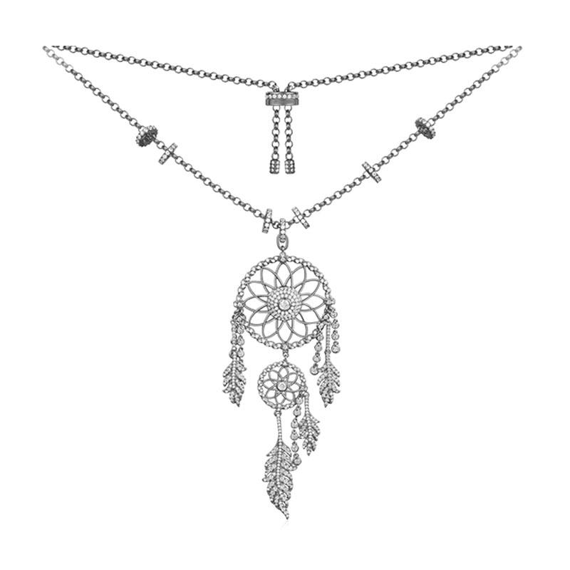 SLJELY 925 Sterling Silver Black Gray DREAMCATCHER Pendant Necklace CZ Zircon Feather Choker Adjust Chain Women