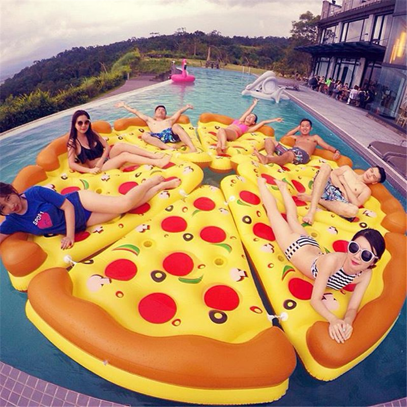 New Pool Float Inflatable Boat Pizza Swimming Float Adult Swim Air Mattresses Ring Summer Water Toy With Pump