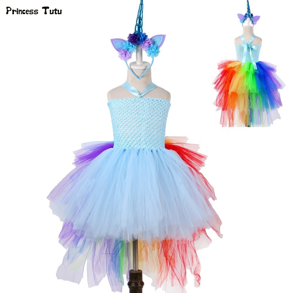Rainbow Princess Girls Tutu Dress Fancy Train Unicorn Dress Children Girl Halloween Costume Kids Birthday Party Dress Up 1-14Y blue&pink white princess girl tutu dress children girls wedding birthday photo party costume tutu summer clothes for girl 2 14y
