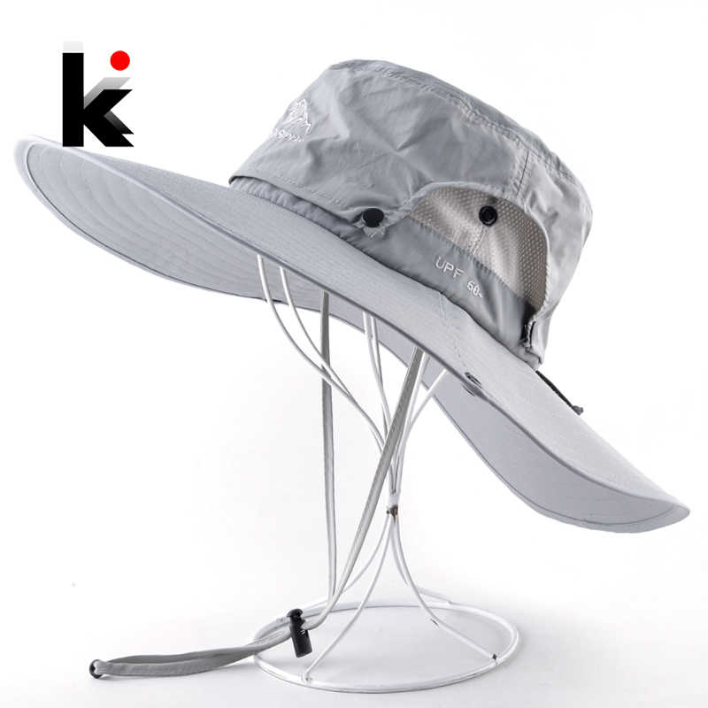 Wide Brim Bucket Hat Men Outdoor Breathable mesh Waterproof Sun Cap Solid Color Sport Hat Climbing Hiking UV Protection Hats