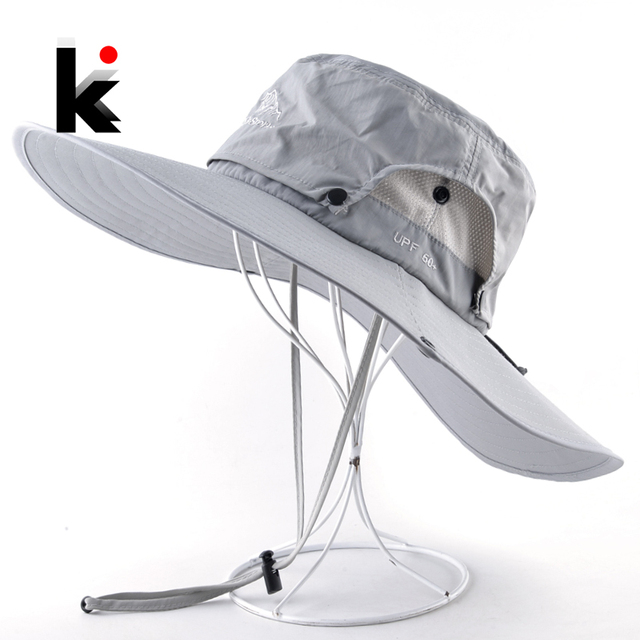 a7736c1f Wide Brim Bucket Hat Men Outdoor Breathable mesh Waterproof Sun Cap Solid  Color Sprot Hat Climbing Hiking UV Protection Hats