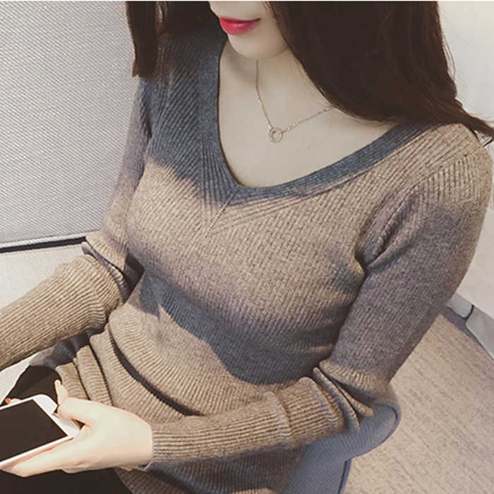 2019 Autumn Slim Fitness White Gray Sweater Women Knit Pullover Sweater Sexy Winter Tops Slim V Neck Long Sleeve Jumper