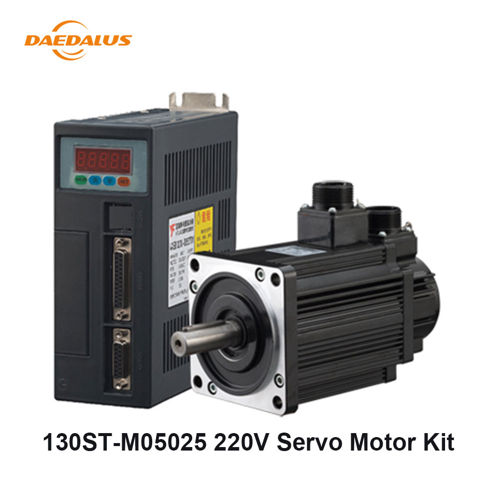 130ST AC Servo Motor 130ST M05025 220V 5N.M 1.3KW 30A Single Phase Motor+Matched Driver+3 Meters Encoder Cable Motor Cable