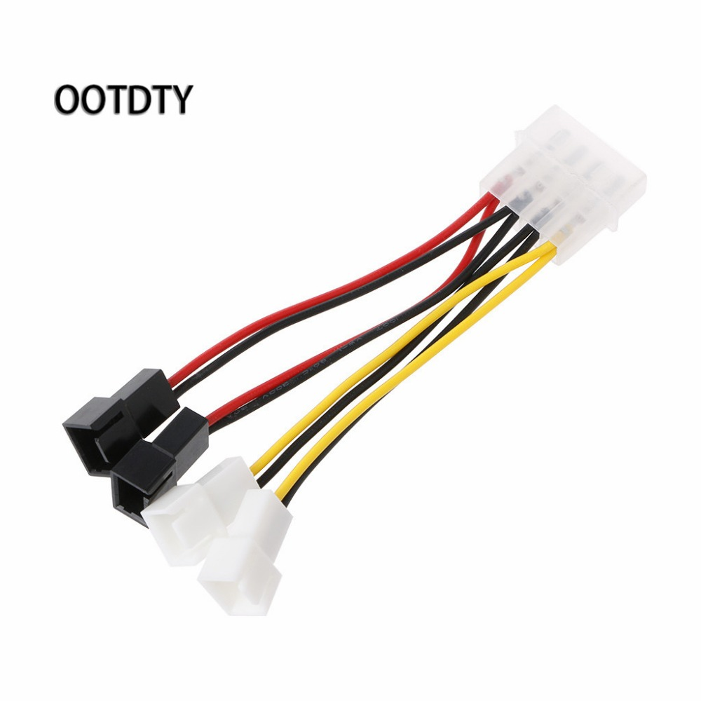 IDE Molex 4-Pin To 4X 3-Pin TX3 Case Cooling Fan Power Adapter Converter Cable Y