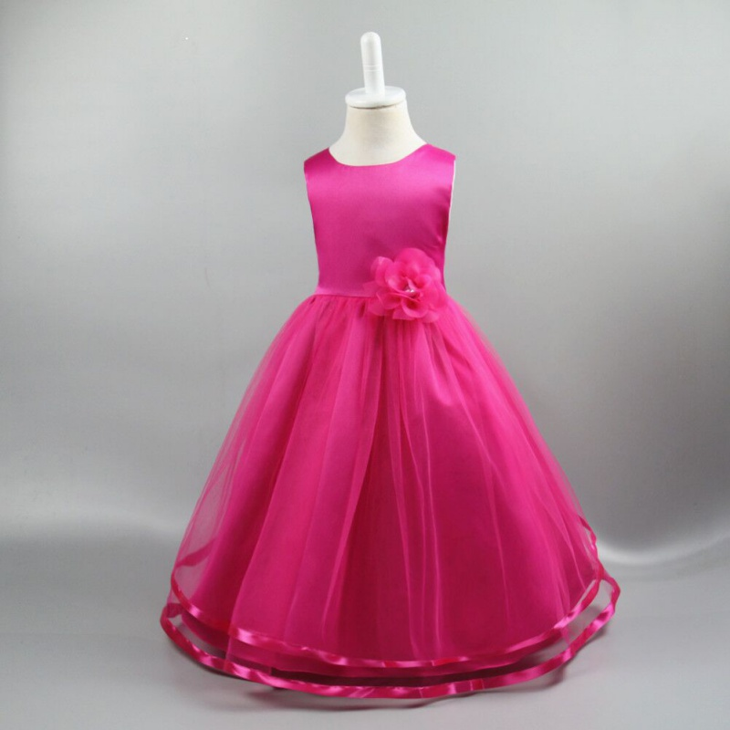 Summer Girls Formal Wedding Birthday Party Bow Dresses Princess Bridesmaids Children Clothes For Kids Baby Clothing Girl Dress bow baby girls long wedding dress birthday party dresses for children flower girl lace princess costume vestidos kids clothes