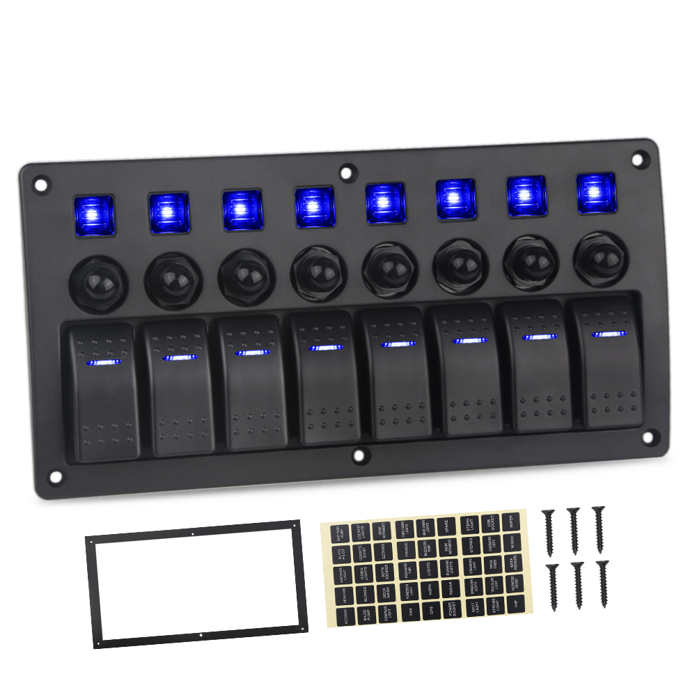Vehicles Truck Trailer Yacht 8 Gang Marine Switch Panel With Breakers Boat Car 5pin 12V 20A 24V 10A Car Panel Switch For Toyota 12v 24v 6gang blue led capacitive touch screen control switch panel box for car marine boat caravan yacht truck