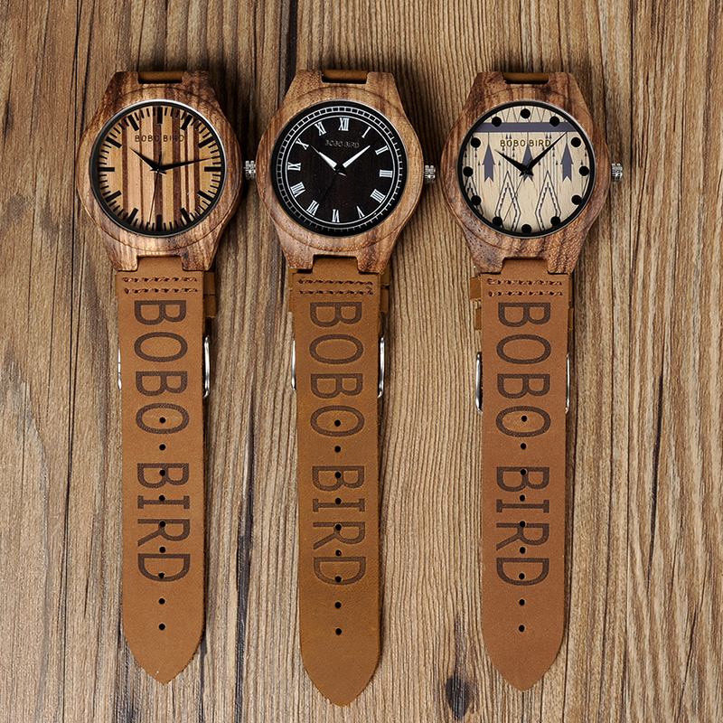 BOBO BIRD Zebra Wood Watch Men Quartz Movement Customize Leather Band Wristwatch relogio masculino B-O30 2017 top brand watch men bobo bird wood watches quartz movement wooden band wristwatch with box relogio masculino b o08