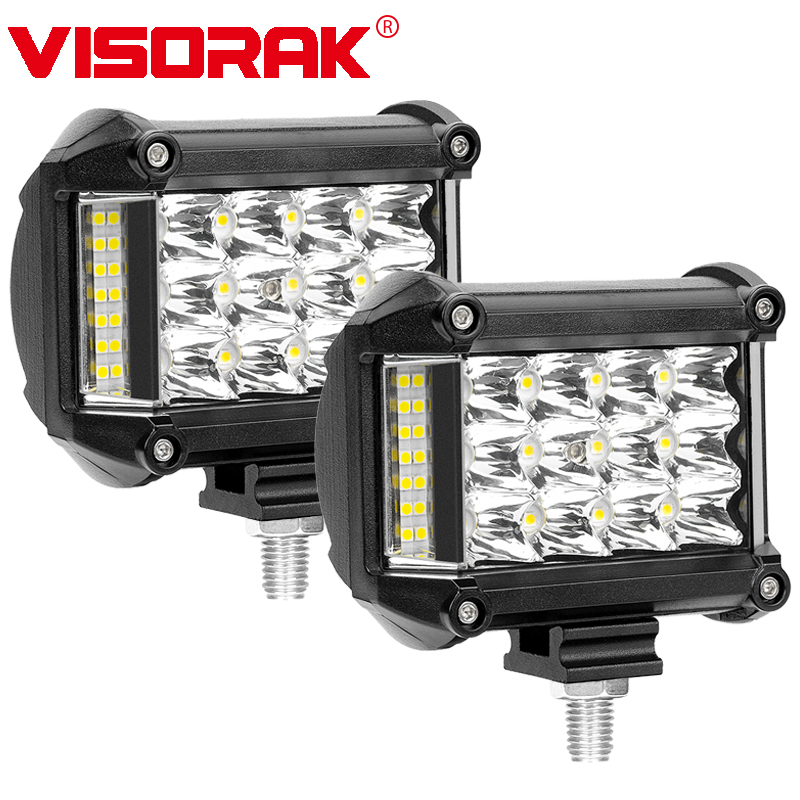 VISORAK 2pcs 4 57w LED Work Light 3-Row Spot Flood Offroad LED Light Bar 12v 24v Driving Lamp For 4x4 4WD ATV SUV Truck Trailer мобильный телефон philips xenium e560 черный