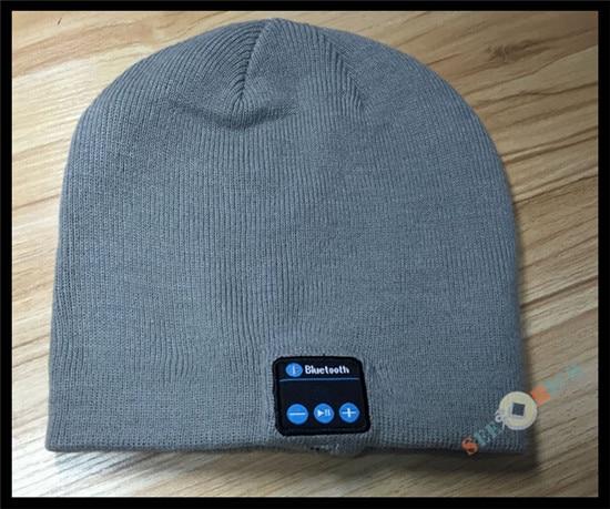 Беспроводной Bluetooth V4.2 Beanie для мальчиков и девочек, мужчин и женщин, вязаная зимняя шапка для наушников, ручной Mp3 микрофон, волшебная музыка, умная шапка+ подарочная коробка - Цвет: Серый