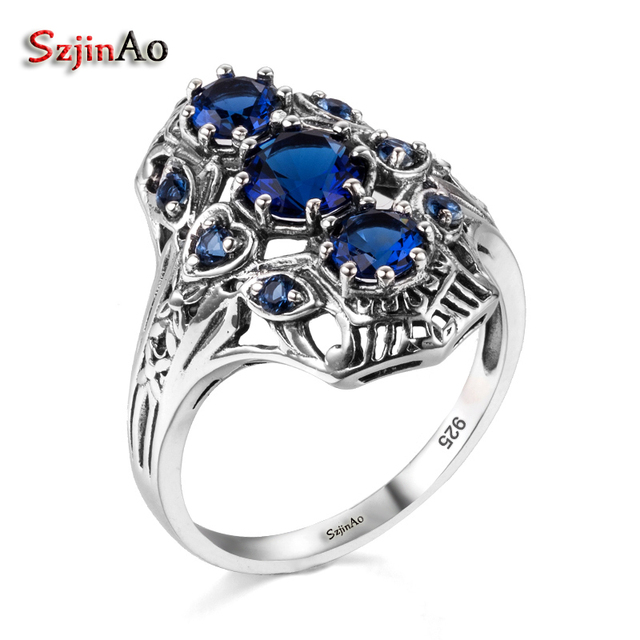 Szjinao Clic Woman Wedding Ring Real Solid 925 Sterling Silver Jewelry Ethnic Style Shrie Engagement