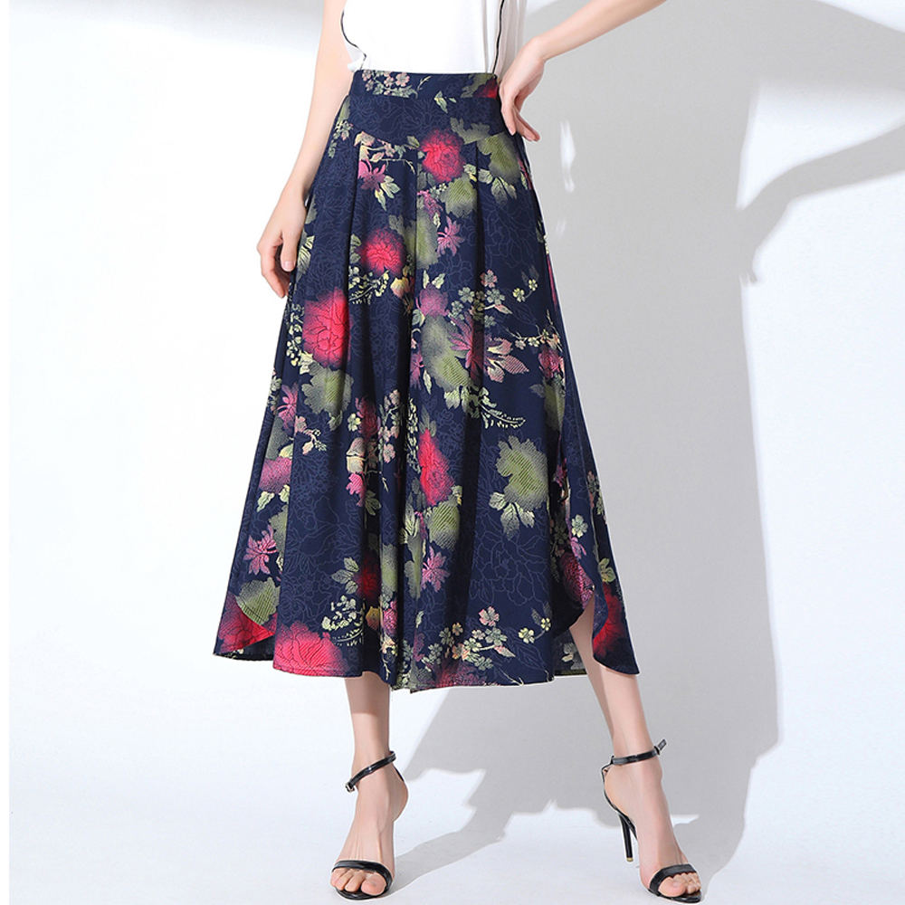 New Printed Loose Women   Pants   Summer High Elastic Waist   Wide     Leg     Pants   Ladies High Street Wear Casual Beach   Pants