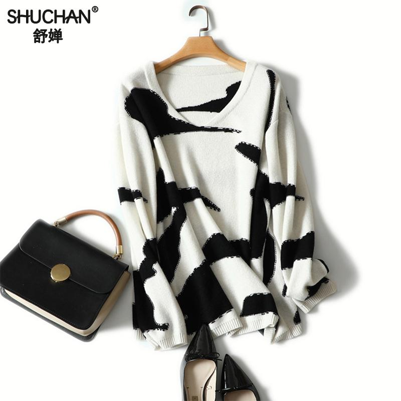 Shuchan 100% Cashmere Sweater Pullover Knitted Autumn Winter Woman Print Floral Sweater O-neck 2018 Pull Femme Loose Plus Size