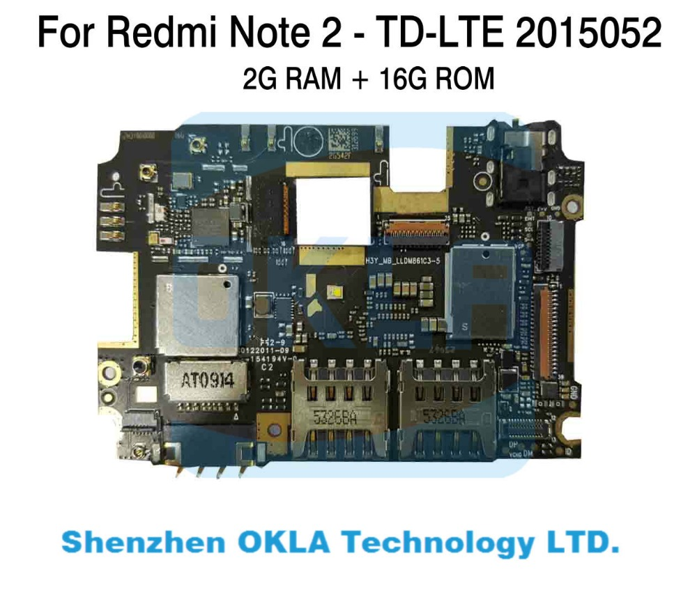 1pcs For Xiaomi Redmi Note2 Note 2 2015052 2G RAM 16GB ROM TD LTE used Mainboard Motherboard