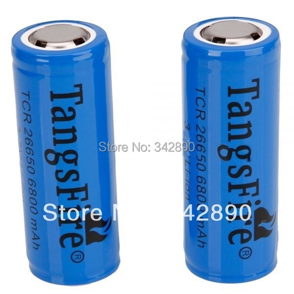 2Pcs TangsFire 26650 6800mAH 3.6-4.2V Lithium Rechargeble Battery