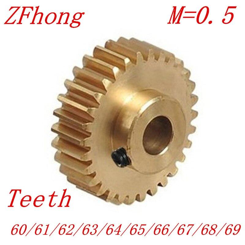 2PCS/LOT 0.5M 60 61 62 63 64 65 66 67 68 69 Teeth Brass Step Spur Gear CNC lathe machining parts