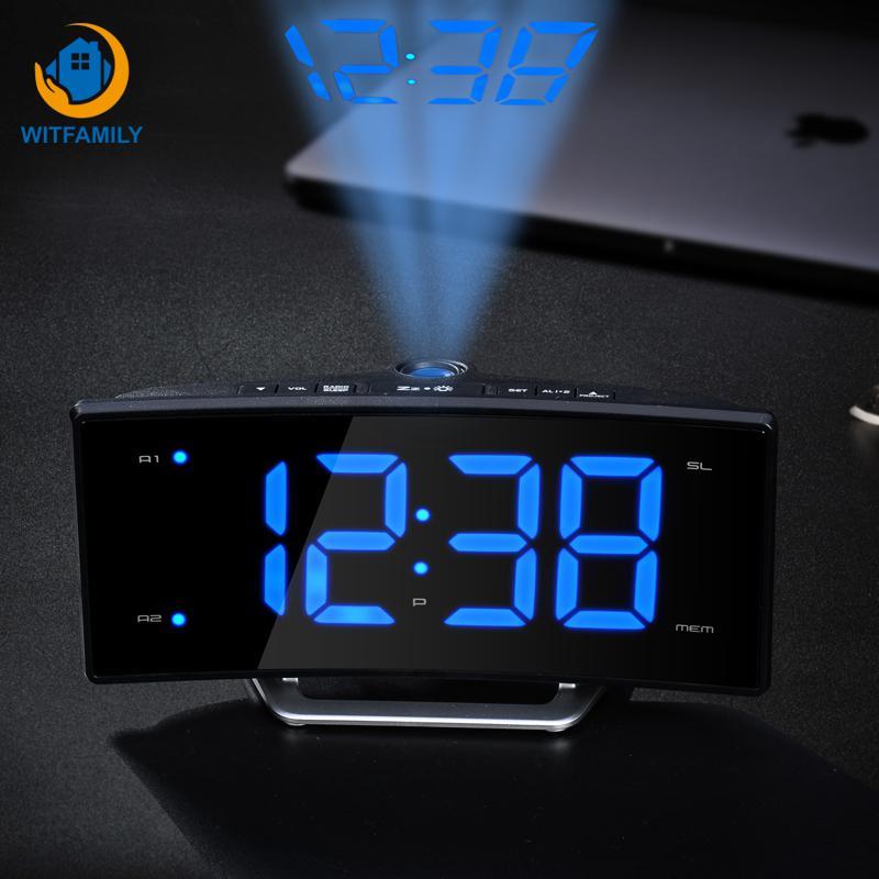Image 3 - FM Radio Alarm Clock LED Digital Electronic Table Projector Watch Desk Nixie Projection Clock With Time Projection-in Alarm Clocks from Home & Garden