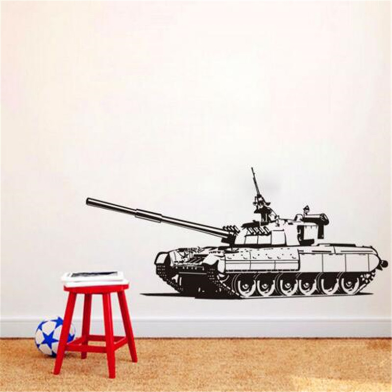 Heavy Tank Wall Sticker Removable Kids Room Wall Stickers Army Panzer Art Decal Home Decor