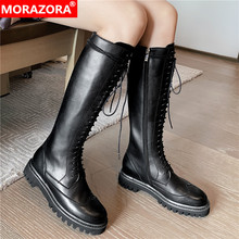 Morazora 2020 Hot Koop Lederen Platform Schoenen Vrouwen Motorlaarzen Zip Lace Up Herfst Winter Knie Hoge Laarzen Vrouwelijke