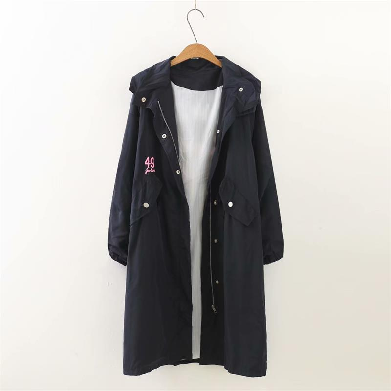 Spring Blue Trench Embroidered Women Navy Autumn Ladies Outwear Coat 2018 Letter Long Hooded Dark Female Plus Size Yzwqtt
